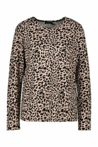 Womens Leopard Knitted Top - Beige - L, Beige