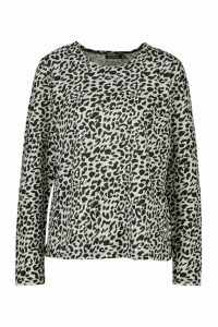 Womens Leopard Knitted Top - Grey - M, Grey