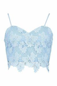 Womens Crochet Lace Top - Blue - 14, Blue