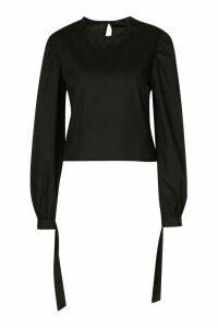 Womens Tie Sleeve Cotton Mix Top - Black - 14, Black
