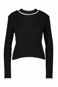 Womens Contrast Cuff Knitted Jumper - Black - M, Black