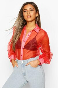 Womens Petite Organza Long Sleeve Blouse - Red - 14, Red