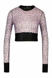 Womens Leopard Mesh Top With Contrast Band - Purple - 14, Purple
