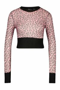 Womens Leopard Mesh Top With Contrast Band - Pink - 14, Pink