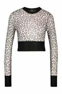 Womens Leopard Mesh Top With Contrast Band - White - 10, White