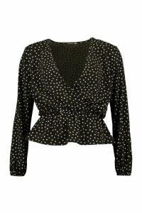 Womens Polka Dot Peplum Hem Blouse - Black - 12, Black