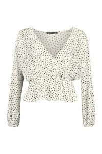 Womens Polka Dot Peplum Hem Blouse - White - 8, White