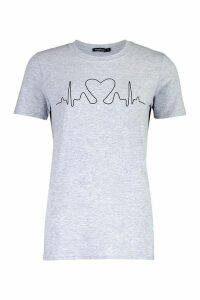 Womens Heartbeat Printed T-Shirt - Grey - S, Grey