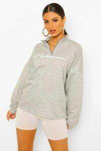 Womens Woman Slogan Rib Neck Zip Sweatshirt - Grey - 16, Grey
