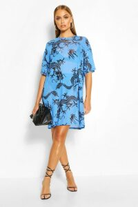 Womens Dragon Print Mesh T-Shirt Dress - Blue - 12, Blue