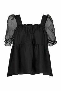Womens Organza Cotton Peplum Mix Smock Top - Black - 14, Black
