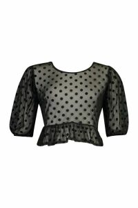 Womens Mesh Polka Dot Peplum Blouse - Black - 14, Black