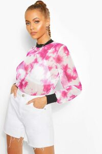 Womens Long Sleeve Tie Dye Mesh Top - Pink - 14, Pink