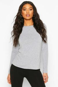 Womens Basic Jersey Loose Fit Long Sleeve Gym Top - Grey - 16, Grey