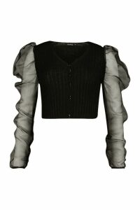 Womens Rib Knit Organza Sleeve Crop Cardigan - Black - M, Black