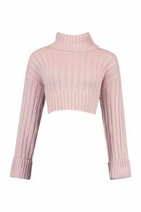 Womens Wide Rib Roll/Polo Neck Jumper - Pink - M/L, Pink