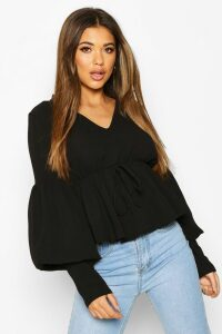 Womens Smock Top With Double Layered Sleeves - Black - 14, Black