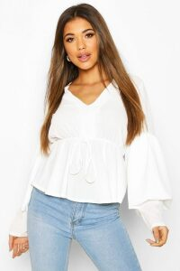 Womens Smock Top With Double Layered Sleeves - White - 12, White