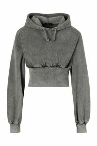 Womens Acid Wash Fitted Wasit Hoodie - Grey - 14, Grey