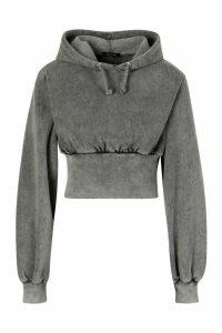 Womens Acid Wash Fitted Wasit Hoodie - Grey - 12, Grey