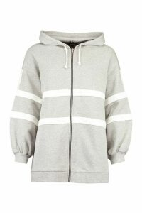 Womens Extreme Oversized Colour Block Hoody - Grey - 10, Grey