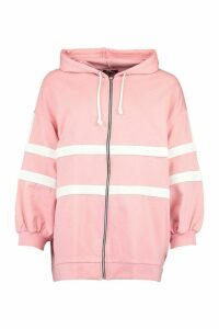 Womens Extreme Oversized Colour Block Hoody - Pink - 10, Pink
