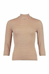 Womens Striped Roll/Polo Neck Rib Top With 3/4 Sleeves - Beige - 14, Beige