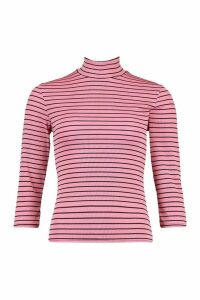 Womens Striped Roll/Polo Neck Rib Top With 3/4 Sleeves - Pink - 14, Pink
