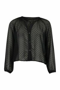 Womens Dobby Mesh Button Down Shirt - Black - 14, Black