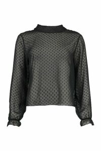 Womens Dobby Mesh High Neck Blouse - Black - 14, Black