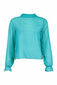 Womens Dobby Mesh High Neck Blouse - Blue - 14, Blue