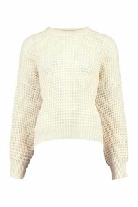 Womens Oversized Waffle Stitch Boyfriend Jumper - Cream - M, Cream