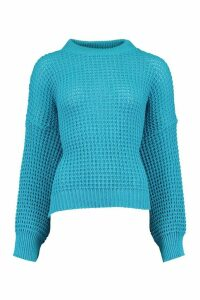 Womens Oversized Waffle Stitch Boyfriend Jumper - Blue - M, Blue