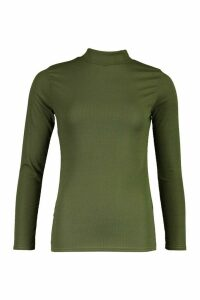 Womens Roll/Polo Neck Rib Knit Jumper - Green - 14, Green