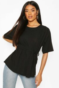 Womens Ribbed Tie Waist Top - Black - 12, Black