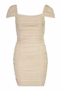 Womens Petite Slinky Short Sleeve Mini Dress - Beige - 14, Beige