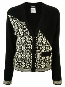 Chanel Pre-Owned 2001 CC nordic pattern cardigan - Black