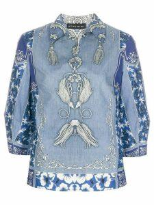 Etro cropped sleeve printed shirt - Blue