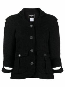Chanel Pre-Owned 2008 cut-off cuffs tweed jacket - Black