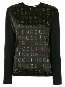 Céline Pre-Owned logo knitted long-sleeved top - Black