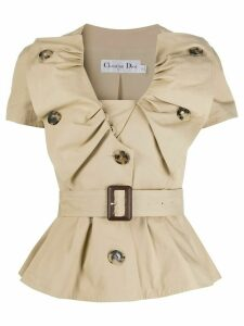 Christian Dior 2000s pre-owned ruffled belted blouse - NEUTRALS