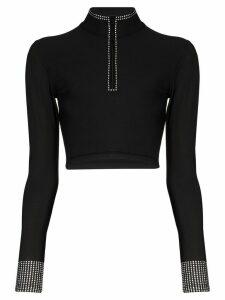 Adam Selman Sport long sleeve crystal crop top - Black