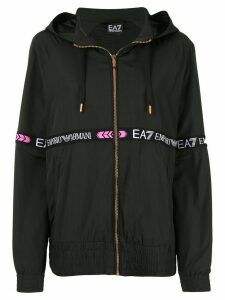 Ea7 Emporio Armani logo-tape hooded jacket - Black
