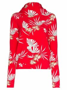 Paco Rabanne jungle print hooded top - Red