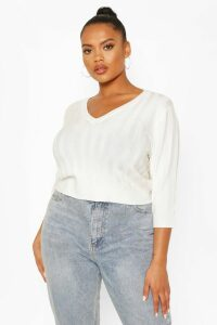 Womens Plus V Neck Soft Knitted Jumper - White - 24-26, White