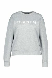 Womens Plus Essential Embroidered Sweatshirt - Grey - 18, Grey