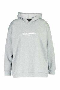 Womens Plus Essential Oversized Hoody - Grey - 18, Grey