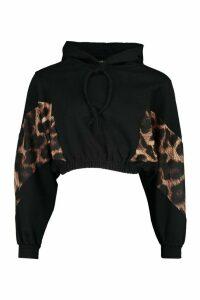 Womens Petite Leopard Block Cropped Hoodie - Black - 14, Black