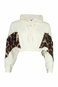 Womens Petite Leopard Block Cropped Hoodie - White - 14, White