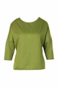Womens Plus Ruched Back Oversized Sweat Top - Green - 20, Green